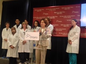 Dr. Sylvia Asa at the press conference at Lakeridge Health